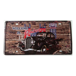 Plaque Métal Immatriculation Vintage - Welcome To London (15x30cm)