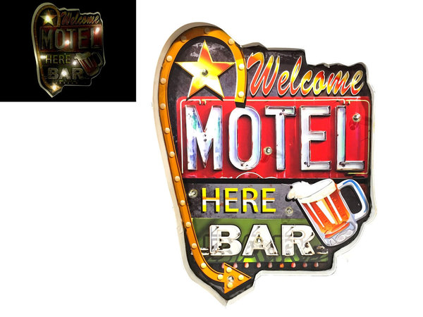 Plaque Métal Lumineuse LED - Welcome Motel Bar Here (48x36cm)