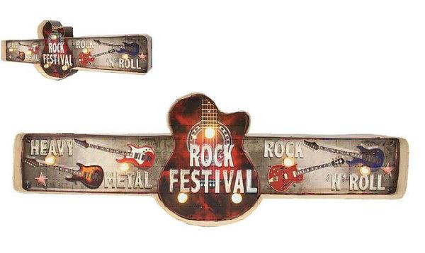 Plaque Métal Lumineuse Led Déco Murale Vintage Guitare Rock