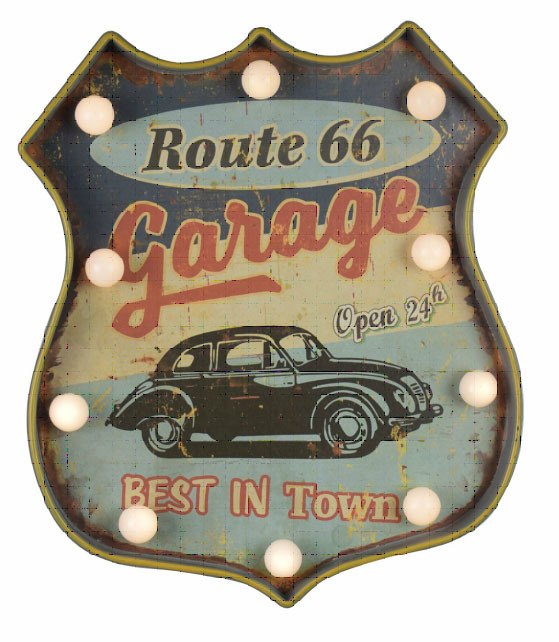 plaque m tal lumineuse led d co murale vintage garage voiture route 66 36x32cm rock 39 n 39 cherry. Black Bedroom Furniture Sets. Home Design Ideas
