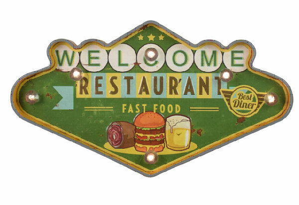 plaque m tal lumineuse led d co murale vintage welcome restaurant fast food 48x28cm rock. Black Bedroom Furniture Sets. Home Design Ideas